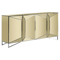 Gold Bevelled Mirrored and Chrome Design Sideboard