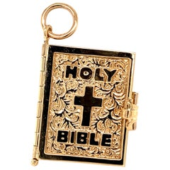 Gold Bible Charm with Verses