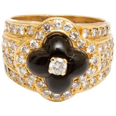 Gold, Black and White Onyx and Diamond Ring