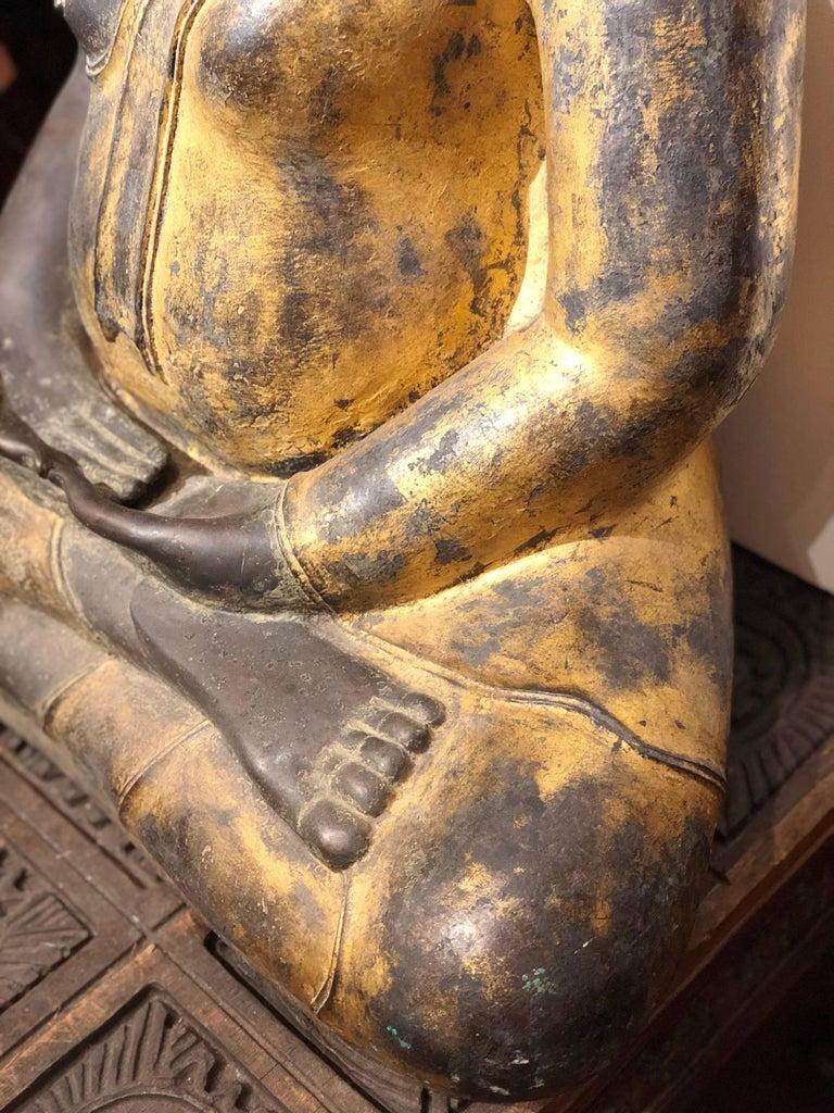 19th Century Gold Black Buddha Statue Bronze Thailand For Sale