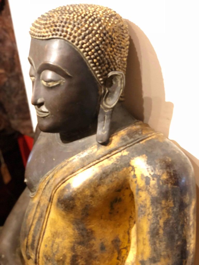 Gold Black Buddha Statue Bronze Thailand For Sale 1