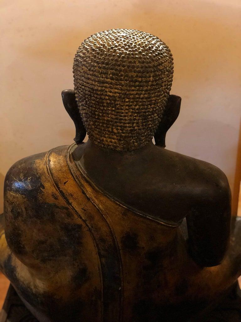 Gold Black Buddha Statue Bronze Thailand For Sale 3