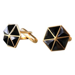 Gold Black Spinel Cufflinks by Lauren Harper