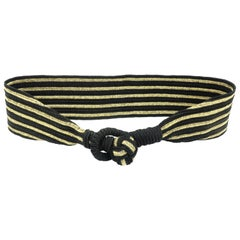 Gold & Black Striped Cummerbund Style Silk Belt
