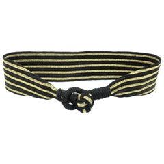 Gold & Black Striped Cummerbund Style Silk Belt