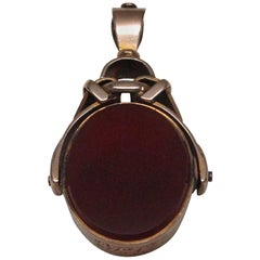 Gold Bloodstone and Carnelian Fob