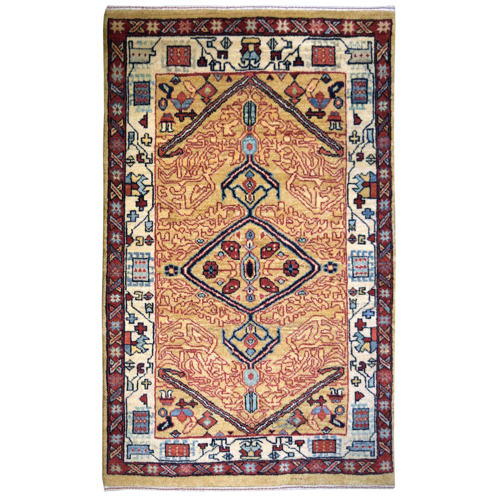 Gold, Blue, and Red Wool Transitional Persian Carpet