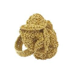 Gold Bold Statement Cocktail Crochet Ring 18 Karat Thread Art Nouveau Style