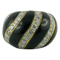 Gold Bombe Onyx and Diamond Wave Ring, circa 1960s-1970s
