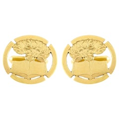 Gold Book Motif Cufflinks