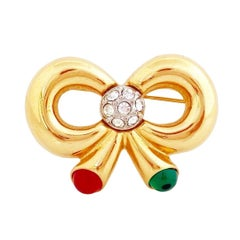 Gold Bow Figural Brooch With Gripoix Glass By Joan Rivers, 1990s