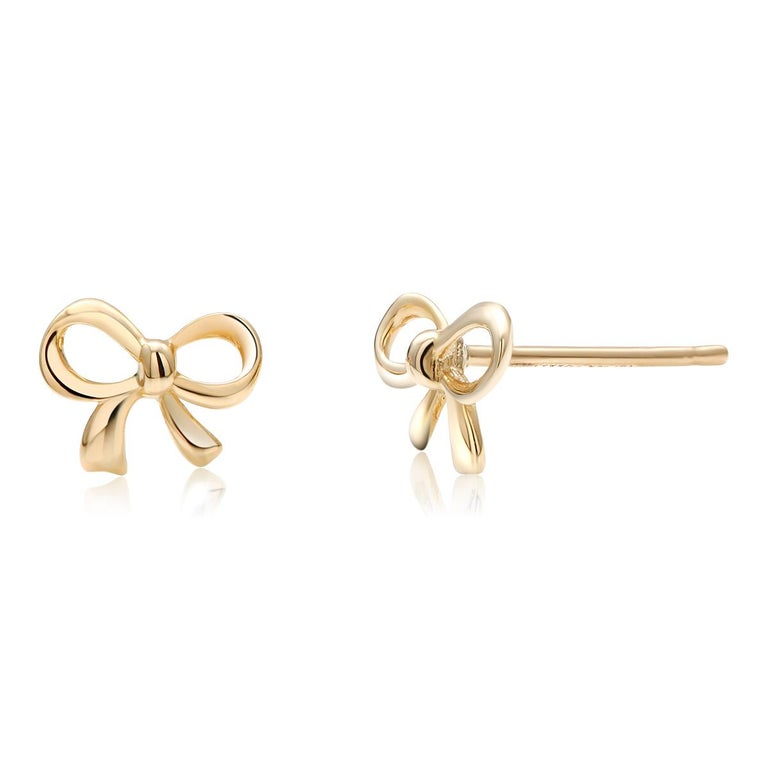Contemporary Gold Bow Stud Earrings For Sale