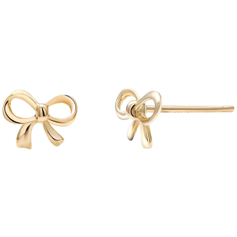 Gold Bow Stud Earrings For Sale