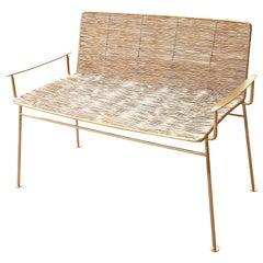 Gold Boy Garden Bench in Gold Titanium Finish, Handmade Edition by Ango