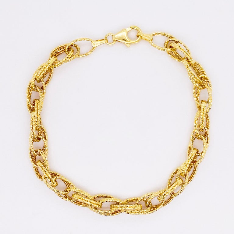 Modern Gold Bracelet, Diamond Sparkle Bracelet, 14 Karat Yellow Gold, Bracelet For Sale