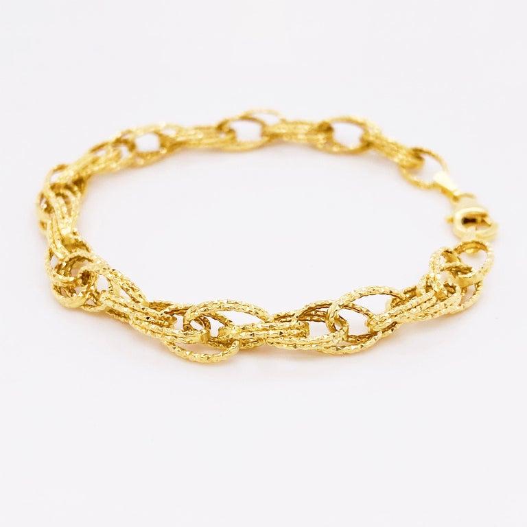 Women's Gold Bracelet, Diamond Sparkle Bracelet, 14 Karat Yellow Gold, Bracelet For Sale