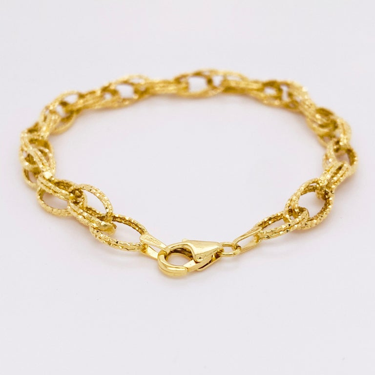 Gold Bracelet, Diamond Sparkle Bracelet, 14 Karat Yellow Gold, Bracelet For Sale 1