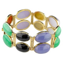 Jade Bracelet In a Vivid Spectrum of Colors