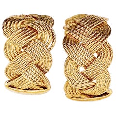 "Gold Braided Hoop Earrings 14 Karat Yellow Gold Twist ""C"" or Circle Earrings"