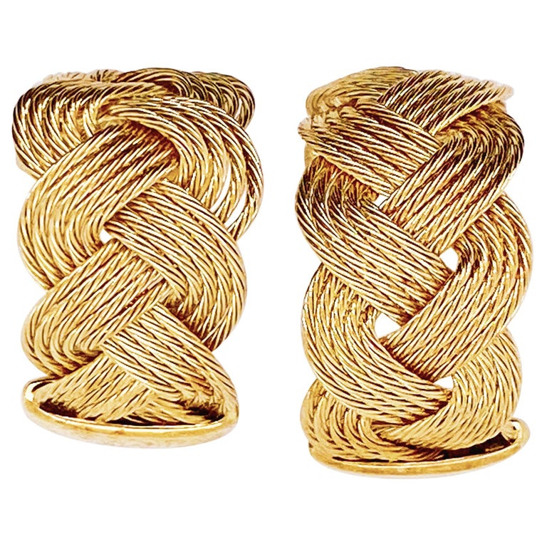 "Gold Braided Hoop Earrings 14 Karat Yellow Gold Twist ""C"" or Circle Earrings For Sale"