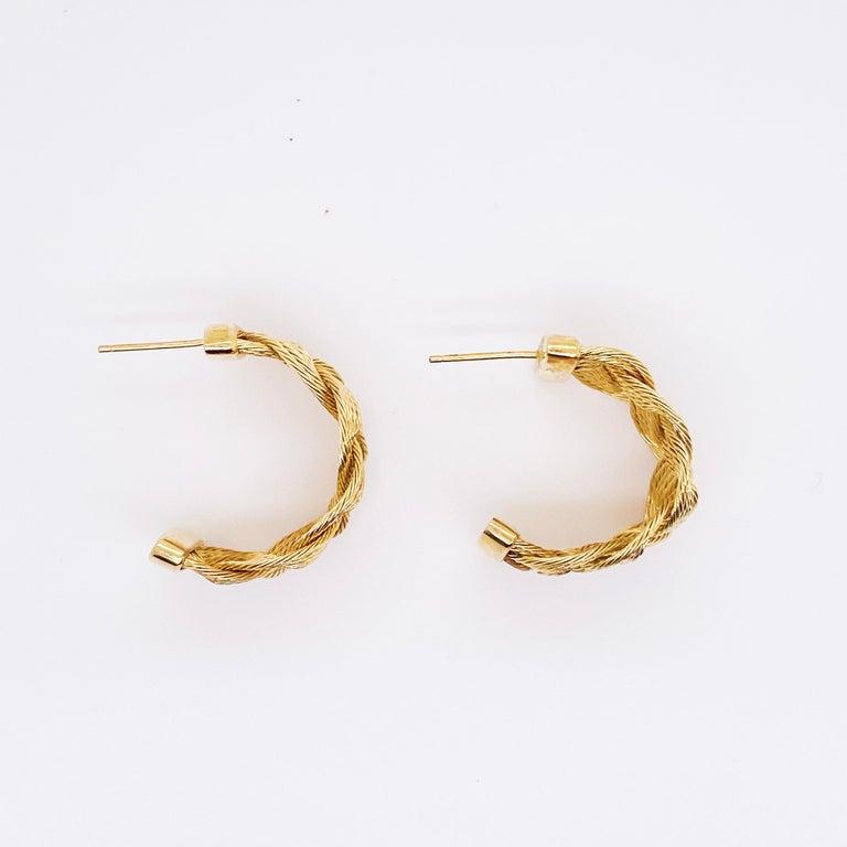 Women's Gold Braided Hoop Earrings 14 Karat Yellow Gold Twist