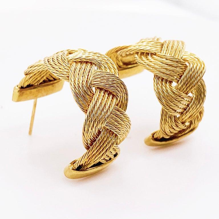 Gold Braided Hoop Earrings 14 Karat Yellow Gold Twist