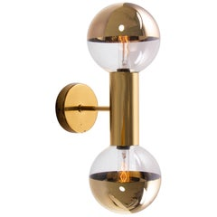 Golden Sputnik Wall Sconce Glass & Brass by Motoko Ishii, Staff, Germany, 1970s