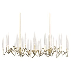 Gold Brass Chandelier with Crystal LEDs, in Stock in Los Angeles