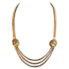 Gold Briquette Necklace, three ranks, from the 60s'.