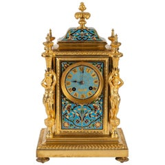 Gold Bronze and Enamel Cloisonné Clock