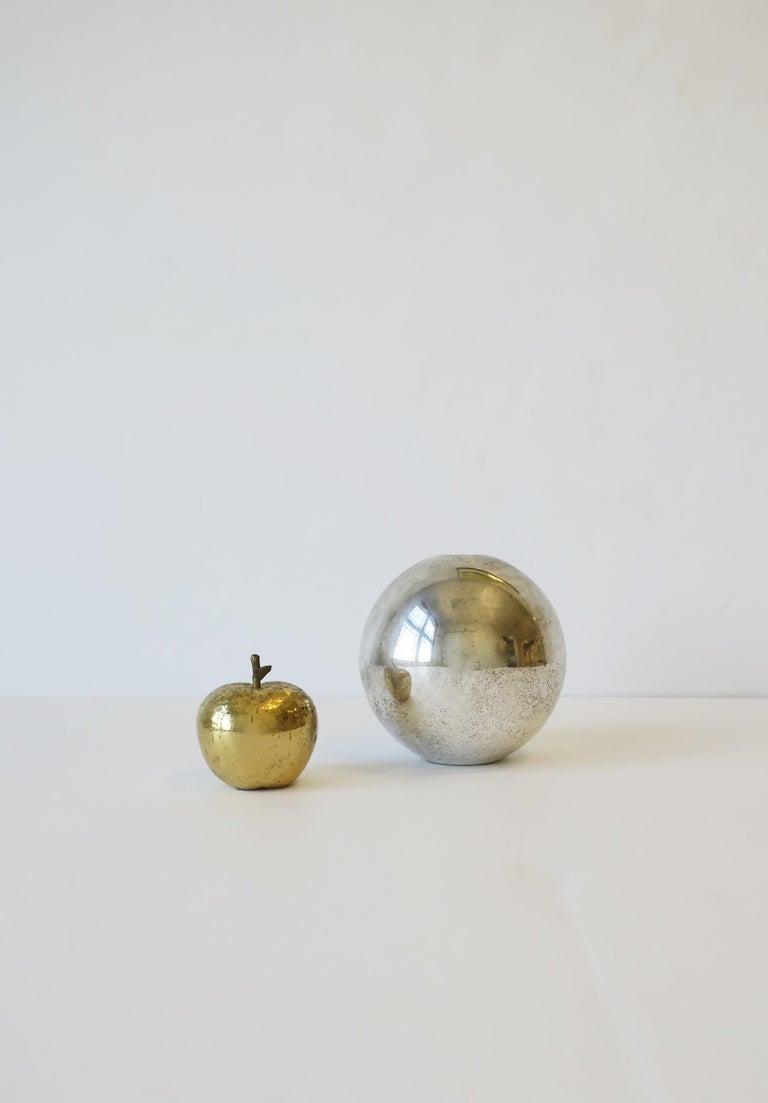 Veneer Gold Bronze Apple Sculpture Decorative Object For Sale