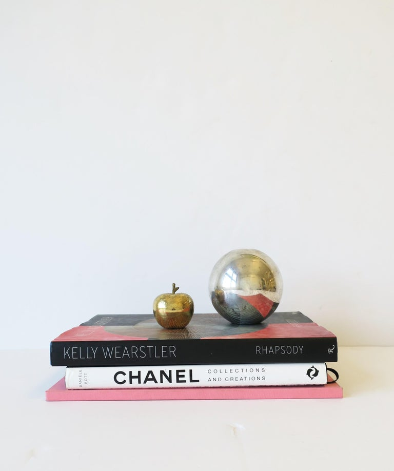 20th Century Gold Bronze Apple Sculpture Decorative Object For Sale