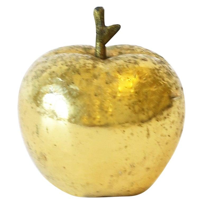 Gold Bronze Apple Sculpture Decorative Object For Sale