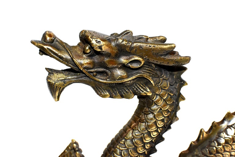 Asian Gold Bronze Dragon For Sale