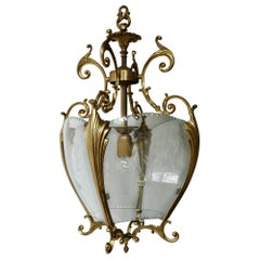 Gold Bronze Hall Lantern with Finely Cut Glass, circa 1950s