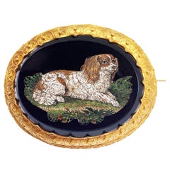 Gold Brooch with Micromosaic by Luigi Moglia Depicting a Little Dog