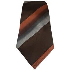 Gold brown multicoloured silk tie