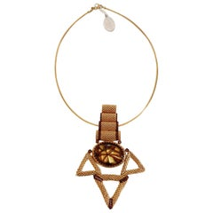 Gold & brown Murano glass beads handmade costume necklace by Italian artist