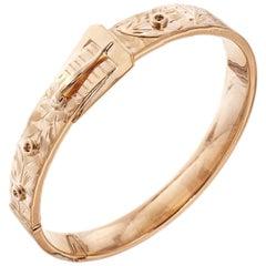 Gold Buckle Hinged Bangle Bracelet