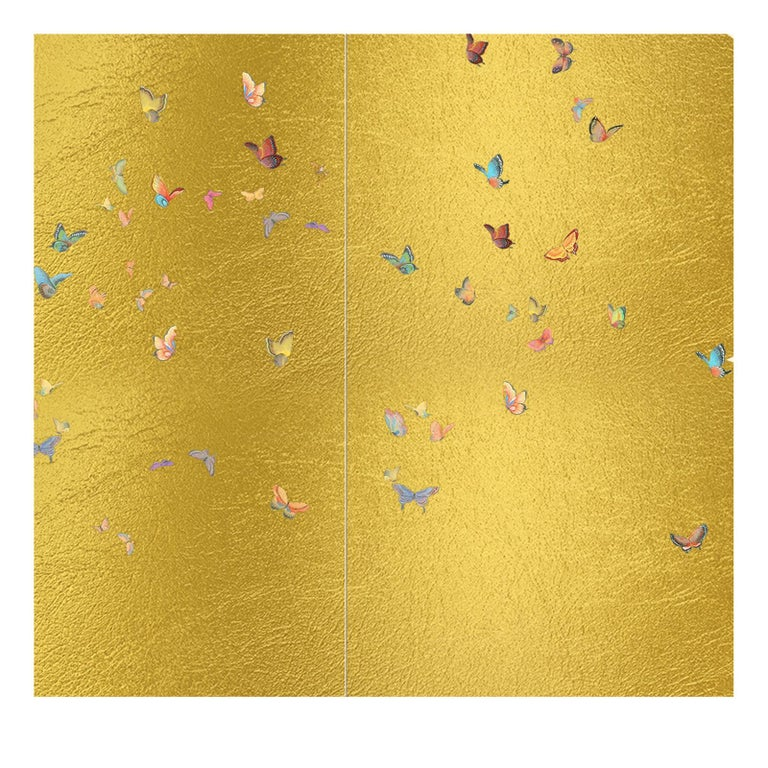 Gold Butterflies Wallpaper In New Condition For Sale In Milan, IT