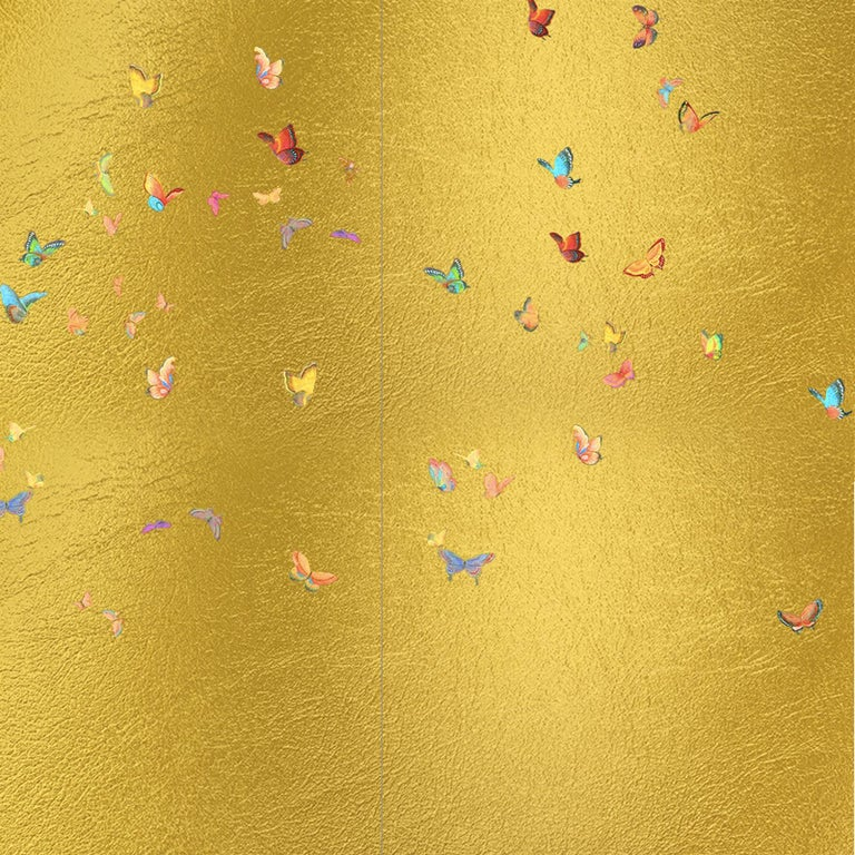 Hand-Painted Gold Butterflies Wallpaper For Sale