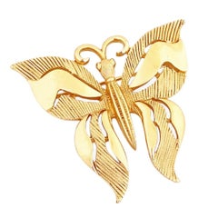 Gold Butterfly Figural Brooch By Crown Trifari, 1960s