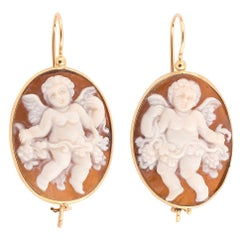 Gold Cameo on the Shell Putto and Flowers Earrings