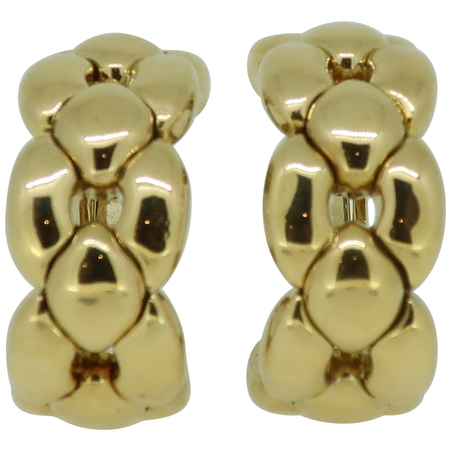 Gold Cartier Chain Link Large Hoop Earrings 18 Karat Yellow Gold, 1992