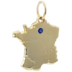 Gold Cartier France Map Charm
