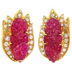 Gold Carved Ruby Diamond Earrings