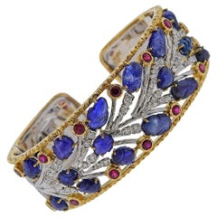 Gold Carved Sapphire Ruby Diamond Bracelet