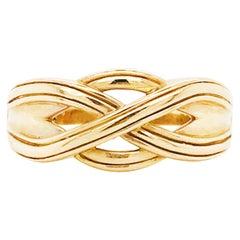 Gold Celtic Knot Men's Ring, 14 Karat Yellow Gold Celtic Trinity Knot Band 6mm