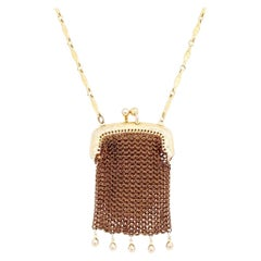 Gold Chain Mesh Pouch Necklace by Whiting & Davis, 1960s