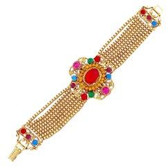 Gold Chain Mughal Style Medallion Bracelet By Blythe & Blythe, 1970s